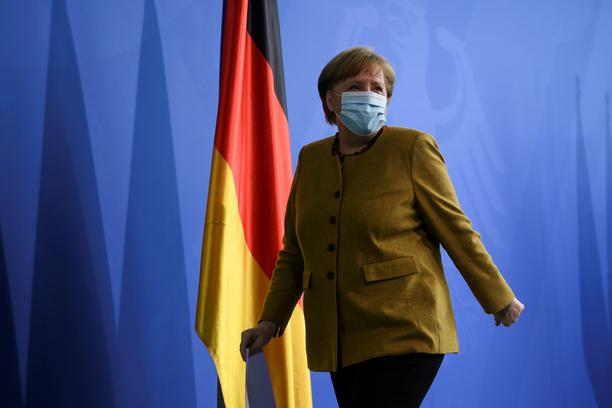 FILE PHOTO: German Chancellor Angela Merkel gives a statement, in Berlin