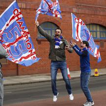 Rangers fans celebrate winning the Scottish Premiership Title