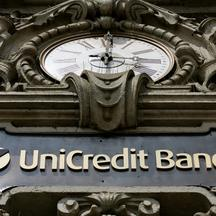 \'The Unicredito logo on top of the main door of the bank headquarter in Milan 12 June 2005. Unicredito, Italy\'s biggest bank, has agreed to take over German bank HypoVereinsbank (HVB) in a five-for-