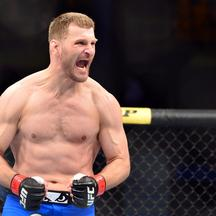 May 31, 2014; Sao Paulo, SP, BRAZIL; Stipe Miocic (red gloves) reacts after his fight against Fabio Maldonado (blue gloves) during the TUF Brazil 3 Finale at Ibirapuera  Gymnasium. Mandatory Credit: Jason Silva-USA TODAY Sports