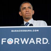 'US President Barack Obama delivers remarks at a campaign event in Akron, Ohio, August 1, 2012.    AFP PHOTO/Jim WATSON'