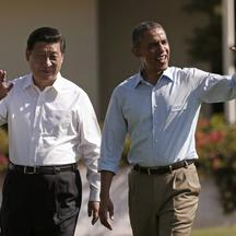 'U.S. President Barack Obama and Chinese President Xi Jinping walk the grounds at The Annenberg Retreat at Sunnylands in Rancho Mirage, California June 8, 2013  The two-day talks at a desert retreat n