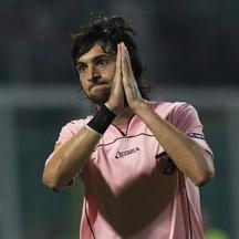 'Palermo\'s Javier Pastore reacts as he leaves the field after receiving a red card during their Europa League Group F soccer match against CSKA Moscow in Palermo October 21, 2010.  REUTERS/Alessandro