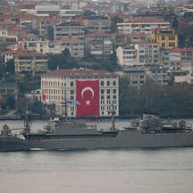 Hellenic Navy general support ship Aliakmon sails in Istanbul's Bosphorus