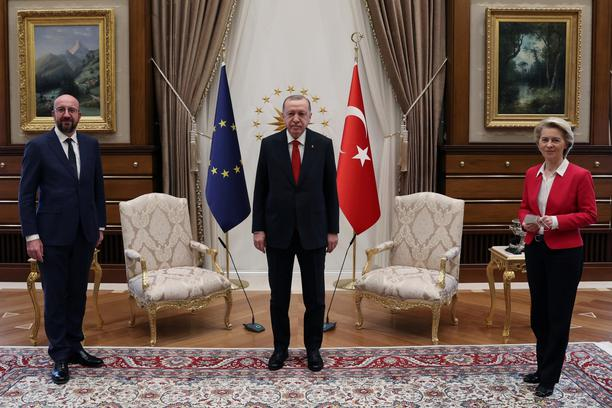 Turkish President Erdogan meets with European Council President Michel and European Commission President von der Leyen in Ankara