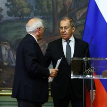 Russia's Foreign Minister Lavrov and EU foreign policy chief Borrell attend a news conference in Moscow