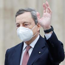 Italian PM Draghi leaves the lower house of parliament in Rome