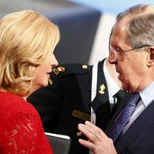Croatia's President Grabar-Kitarovic talks to Russia's Foreign Minister Lavrov during the 53rd Munich Security Conference in Munich Croatia's President Kolinda Grabar-Kitarovic talks to Russia's Foreign Minister Sergey Lavrov during the 53rd Munich Securi