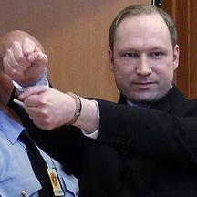 'File picture shows Norwegian Anders Behring Breivik, who killed 77 people, as he arrives at a court hearing in Oslo February 6, 2012. The court stated in a press release on April 10, 2012, that Breiv