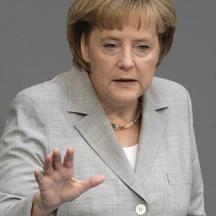 'German Chancellor Angela Merkel delivers her government statement during a session of the Bundestag, the lower house of parliament, in Berlin, July 2, 2009. Merkel said on Thursday she wanted next we