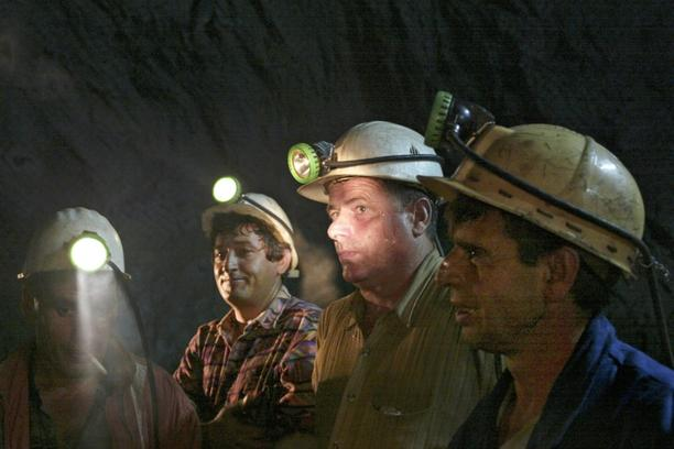 'Ethnic Albanian miners work in the Stari Trg mine, the centrepiece mine of Trepca kompleks in northern Kosovo, near by the town of Mitrovica, renewed its production on Monday for the first time after