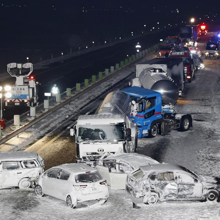 Multiple-vehicle collision on snow-blanketed expressway in northeastern Japan