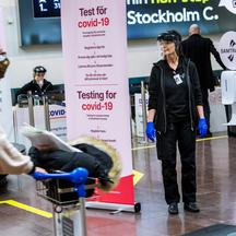 Asa Wernsten works at a coronavirus disease (COVID-19) test station for the for arriving passengers at Arlanda airport