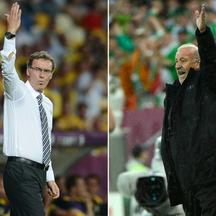 'A combination of pictures made on June 21, 2012 shows French headcoach Laurent Blanc on June 19, 2012 at the Olympic Stadium in Kiev and Spanish headcoach Vicente Del Bosque (R) on June 14, 2012. Fra