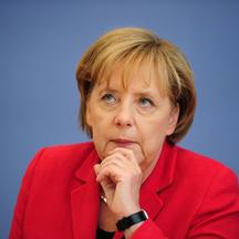 'FILES - Picture taken on June 7, 2010 shows German Chancellor Angela Merkel addressing a press conference in Berlin,  where she reported on the results of two-day talks with her ministers on the fede