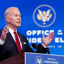 U.S. President-elect Joe Biden outlines coronavirus vaccine administration plan during news conference at transition headquarters in Wilmington, Delaware