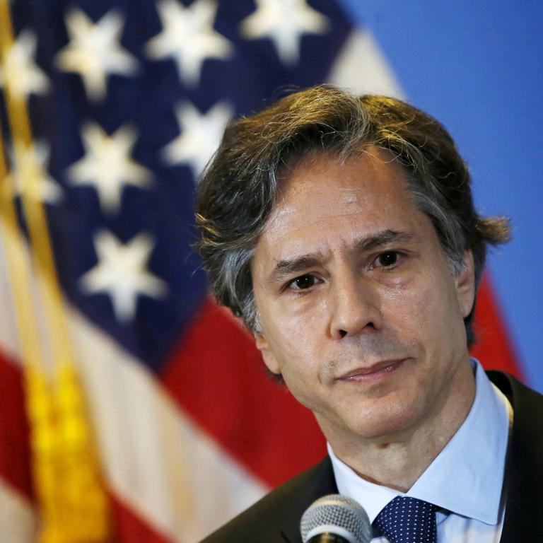 FILE PHOTO: U.S. Deputy Secretary of State Antony Blinken listens to journalists' questions during a news conference, at a hotel in Mexico City