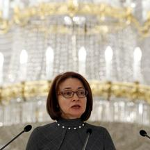 Russian central bank Governor Elvira Nabiullina speaks during the annual conference of the Association of Russian Banks in Moscow, Russia, April 7, 2016. REUTERS/Sergei Karpukhin