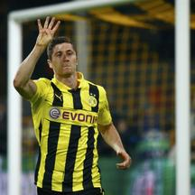 'Borussia Dortmund's Robert Lewandowski gestures as he celebrates after scoring a fourth goal against Real Madrid during their Champions League semi-final first leg soccer match at BVB stadium in Dor