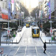The city operates under lockdown to curb the spread of COVID-19 in Melbourne
