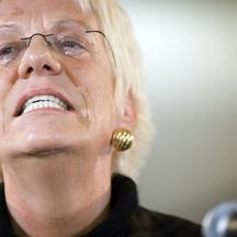 '2007-12-13 THE HAGUE - Outgoing war crimes prosecutor Carla Del Ponte at a press conference in The Hague Thursday December 13 2007. Del Ponte steps down at the end of the month after eight years on t