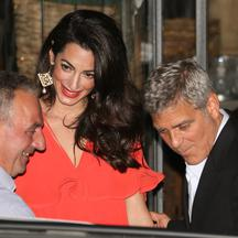 George Clooney and wife Amal Clooney, nee Amal Alamuddin, step out for dinner together at Gatto Nero's restaurant in Cernobbio, Italy.