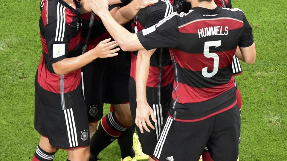 Germany's Miroslav Klose (2nd L) celebrates their second goal with team mates during their 2014 World Cup semi-finals against Brazil at the Mineirao stadium in Belo Horizonte July 8, 2014. REUTERS/Francois Xavier Marit/Pool  (BRAZIL  - Tags: SOCCER SPORT