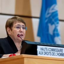FILE PHOTO: Michelle Bachelet speaks at a session of the Human Rights Council in Geneva