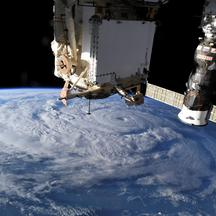 FILE PHOTO: Hurricane Genevieve is seen from the International Space Station (ISS) orbiting Earth