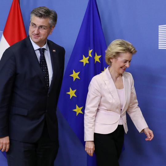 Croatia's Prime Minister Andrej Plenkovic is welcomed by European Commission President Ursula von der Leyen at the EU Commission headquarters in Brussels