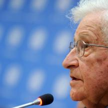 Noam Chomsky attends Press Conference at the United Nations - New York CityNoam Chomsky attends a press conference organized by the Committee on the Exercise of the Inalienable Rights of the Palestinian People at the United Nations in New York City on Oct