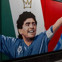Naples the mural by Diego Armando Maradona which will be inaugurated on Saturday at the Cumana di Fuorigrotta train station stop