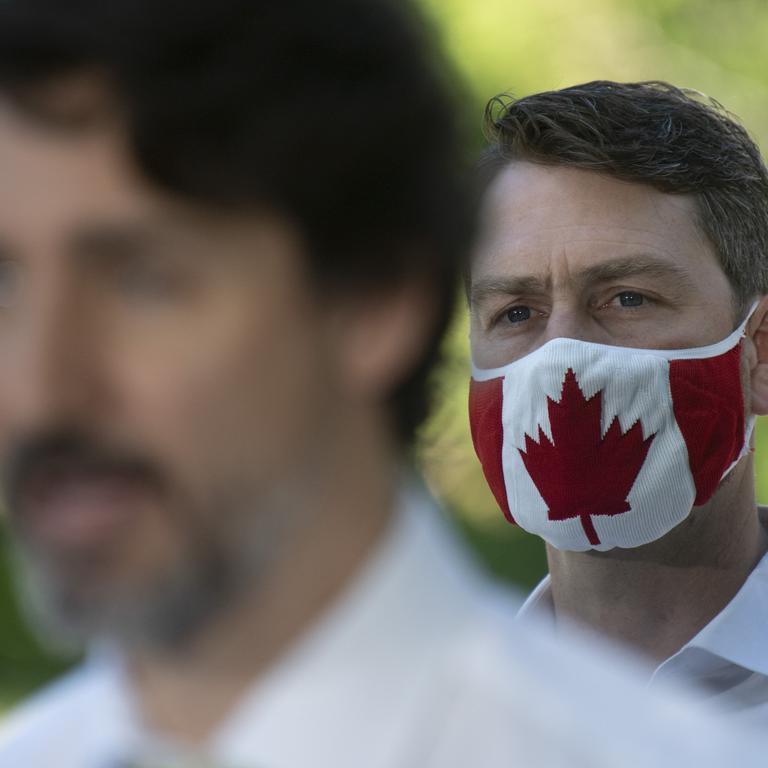 Justin Trudeau at news conference in Chelsea, Quebec - Canada