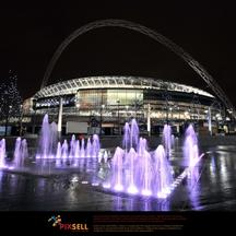 'Earth Hour A general view of Wembley Stadium, London, with the arch in the dark after the lights were switched off for Earth Hour.'