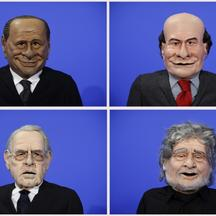 'A combination photo shows puppets of Italian politicians (clockwise, from L to R) Silvio Berlusconi, Pier Luigi Bersani, Beppe Grillo, Mario Monti during the filming of a television show in Rome Febr