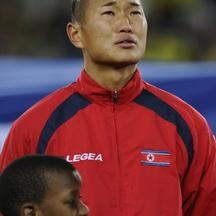 'North Korea\'s defender Jong Tae-Se sings his national anthem before their Group G first round 2010 World Cup football match against Brazil on June 15, 2010 at Ellis Park stadium in Johannesburg. NO