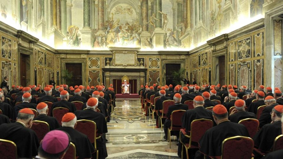 'Pope Benedict XVI addresses during the last meeting with the Cardinals at the Vatican, February 28, 2013.  REUTERS/Osservatore Romano  (VATICAN - Tags: RELIGION) ATTENTION EDITORS - THIS IMAGE WAS PR