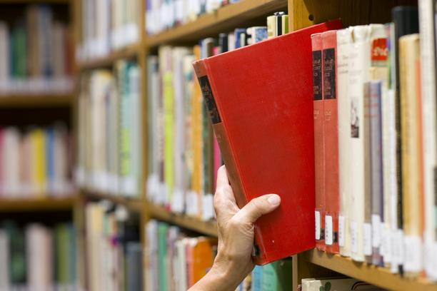 Picking Book Woman's Hand Pulls Red Textbook from Library Shelf