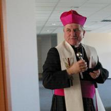 Bishop Edward Janiak attends an event in Wroclaw