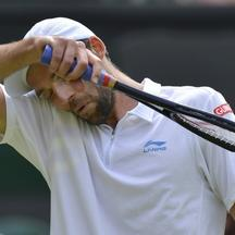 'Ivo Karlovic of Croatia wipes his face during his men's singles tennis match against Andy Murray of Britain at the Wimbledon tennis championships in London June 28, 2012.       REUTERS/Toby Melville