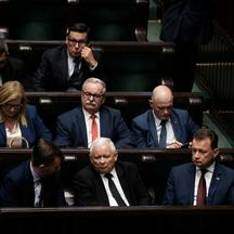 Law and Justice (PiS) leader Jaroslaw Kaczynski and other parliamentarians attend the Polish Parliament session in Warsaw