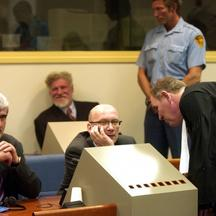 'Ethnic Croats, from left to right back raw, Milivoj Petkovic and Slobodan Praljak, and in front Bruno Stojic and Jadranko Prlic, sit in the Yugoslav war crimes courtroom in The Hague Tuesday April 6,