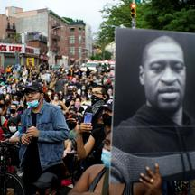 Demonstrators protest against the death in Minneapolis police custody of George Floyd, in New York City