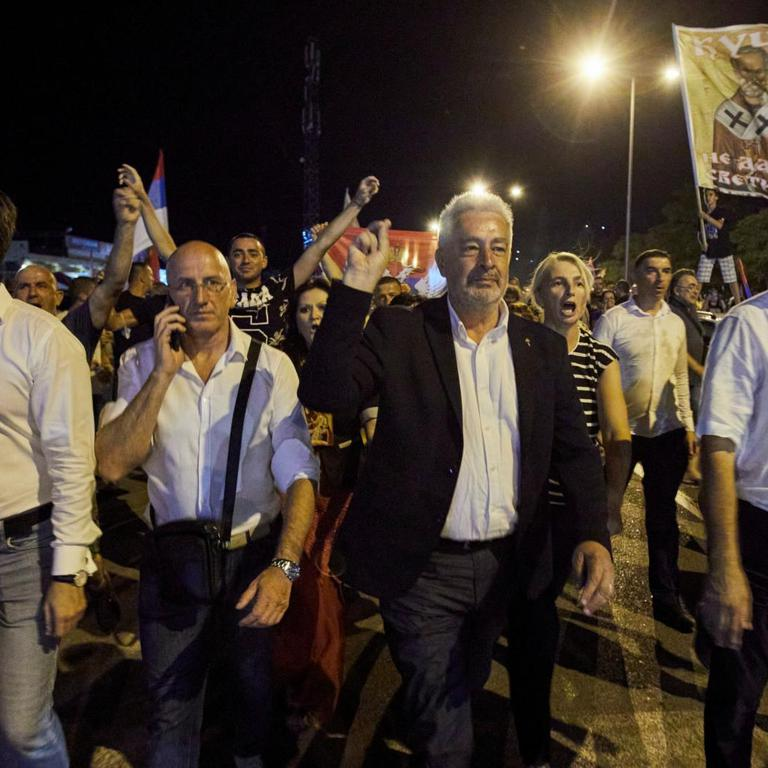 "Zdravko Krivokapic, the leader of the pro-Serb alliance ""For the Future of Montenegro"", leads a protest in Podgorica"
