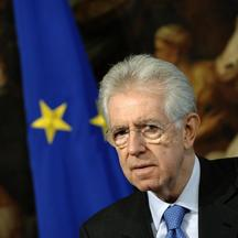 \'Italian Prime Minister Mario Monti looks on during a meeting with Secretary General of the Organization for Economic Cooperation and Development Angel Gurria at Chigi palace in Rome February 6, 2012