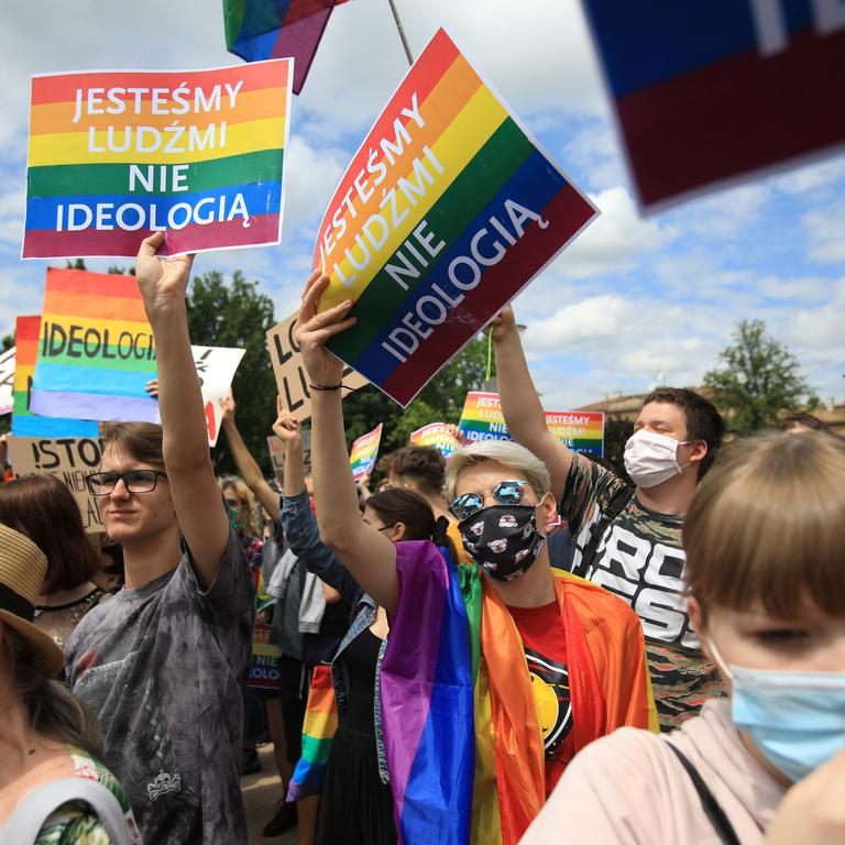 People protest against Polish President Andrzej Duda recent LGBT comments during his election rally in Lublin