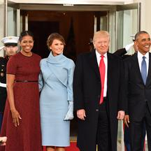 President Barack Obama (R) and Michelle Obama (L) pose with President-elect Donald Trump and wife Melania at the White House before the inauguration on January 20, 2017 in Washington, D.C. Trump becomes the 45th President of the United States. Photo by Ke