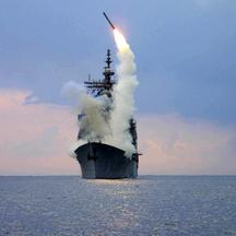FILE PHOTO: A Tomahawk Land Attack Missile (TLAM) is launched from the guided missile cruiser USS Cape St. George in the eastern Mediterranean Sea