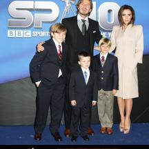 'WORLD RIGHTS  David and Victoria Beckham along with boys Brooklyn, Romeo, Cruz  arriving at The Sports Personality of the Year 2010 at the LG Arena Birmingham, UK. 19/12/2010  BYLINE BIGPICTURESPHOTO