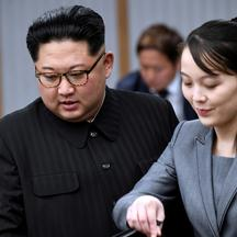 FILE PHOTO: North Korean leader Kim Jong Un and his sister Kim Yo Jong attend a meeting with South Korean President Moon Jae-in at the Peace House